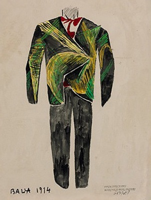 Giacomo Balla, Sketch for Man's Suit, 1914.