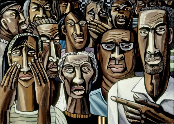 David Bates, The Storm (Super Dome) [right], 2006-07. Collection of the Kemper Museum of Contemporary Art, Kansas City.
