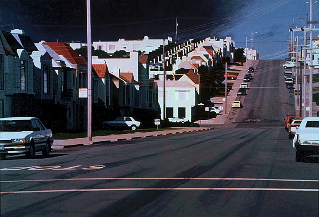 Robert Bechtle, Sunset Intersection -- 40th and Vicente, 1989.