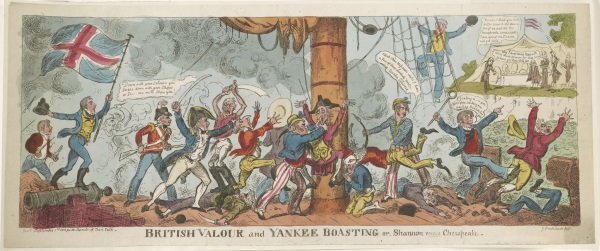 George Cruikshank, British Valour and Yankee Boasting, 1813. Collection of the Library of Congress, Washington. (See an 8000-pixel-wide version of the image via the LOC's website.)