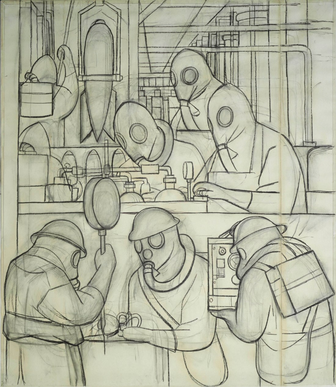 Cartoon of Manufacture of Poisonous Gas Bombs%2C Diego Rivera %28Detroit Industry north wall%29%2C 1932