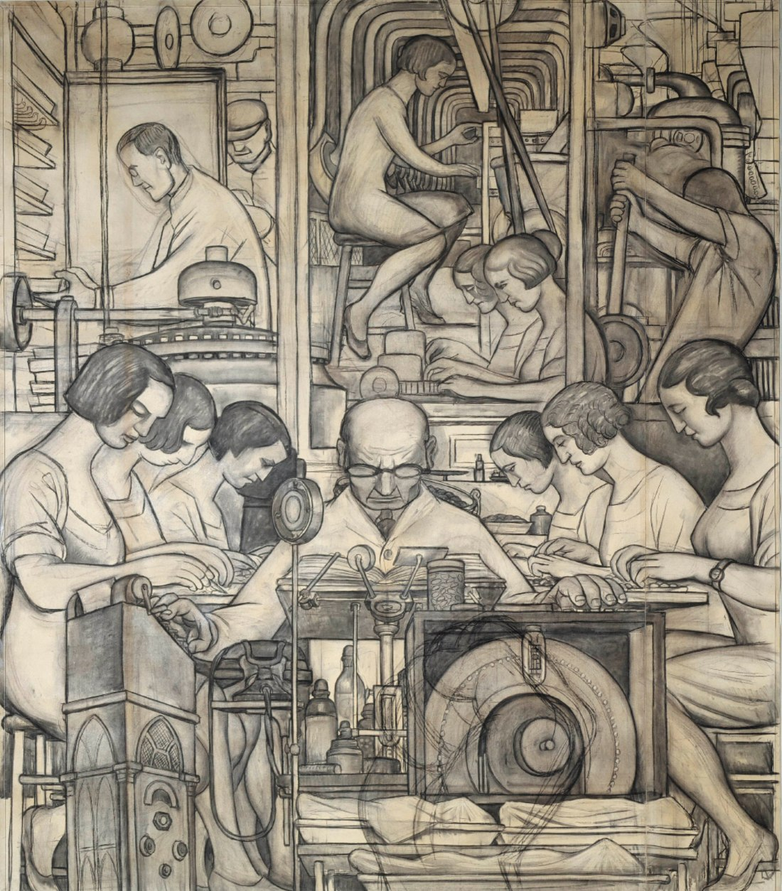 Cartoon of Pharmaceutics %28Detroit Industry south wall%29%2C Diego Rivera%2C 1932