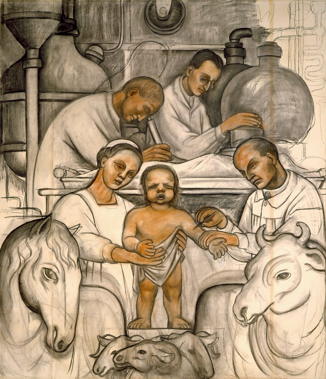 Cartoon of Vaccination %28Detroit Industry north wall%29%2C Diego Rivera%2C 1932