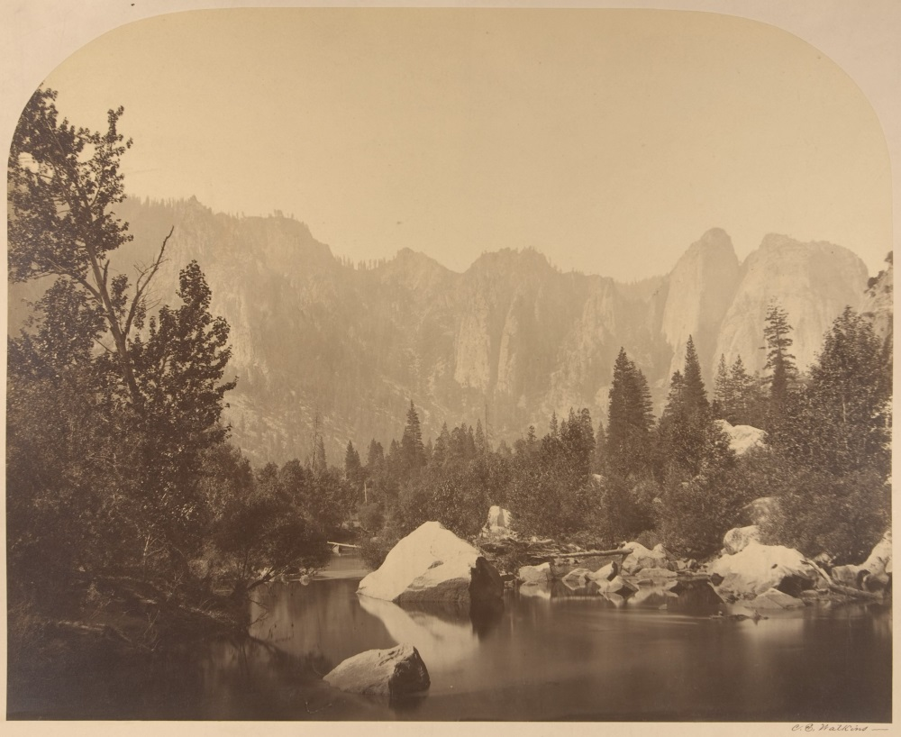 Carleton Watkins, Cathedral Rock, Down the Valley, 1861.