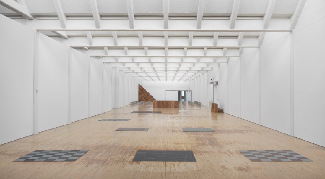Installation view of Carl Andre retrospective at Dia Beacon.