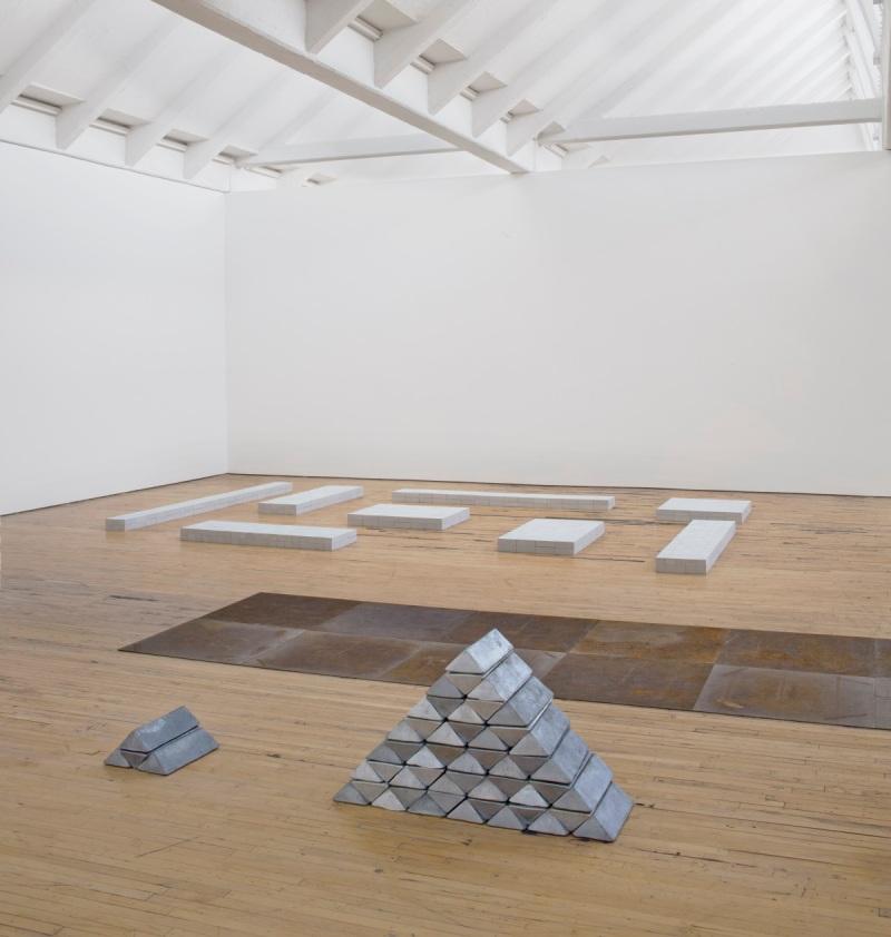 Installation view of Carl Andre retrospective at Dia Beacon.