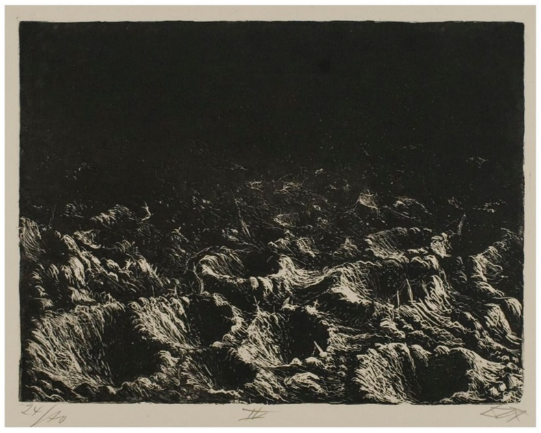 """Otto Dix, Shell Craters near Dontrien by the Light of Flares, from """"The War,"""" 1924."""
