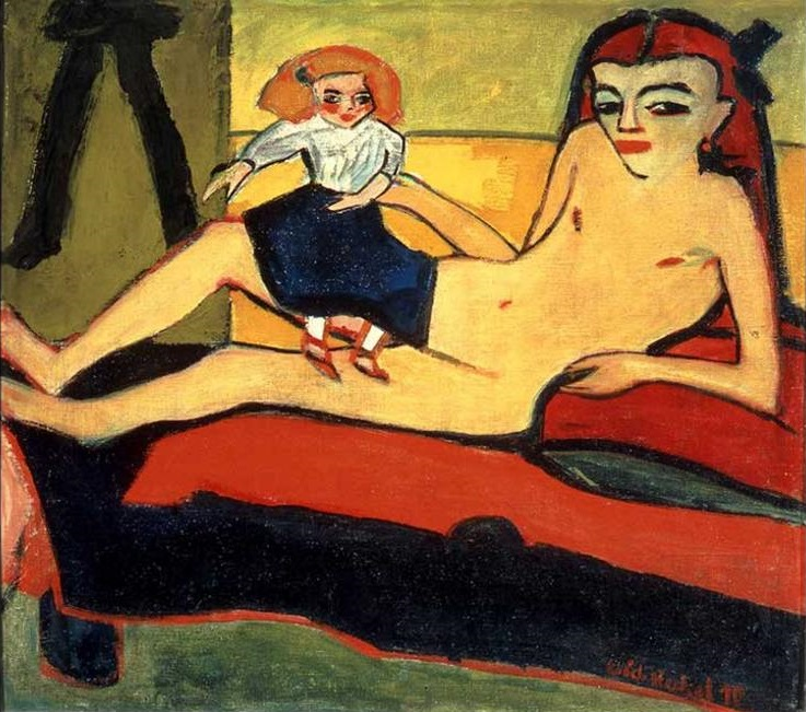 Erich Heckel, Girl with Doll. 1910.