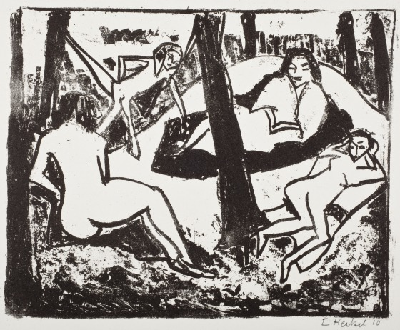 "Erich Heckel, Scene in the Woods (1910), Plate 2 of the portfolio ""Die Brucke VI,"" 1911, Collection of the Los Angeles County Museum of Art."