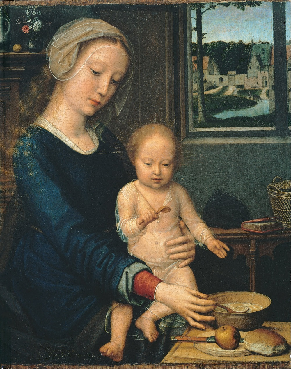 Gerard David, Virgin with the Milk Soup, c. 1510-15. Collection of the Musei di Strada Nuovo, Palazzo Bianco, Genoa.