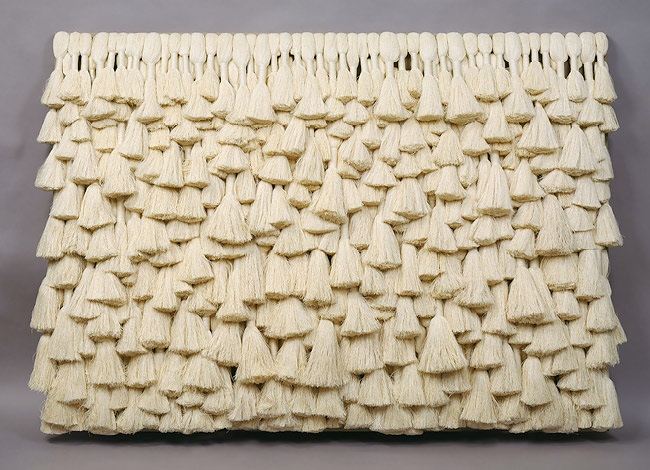 "Sheila Hicks, ""Linen Lean-To"" Tapestry Bas Relief, 1967-68. Collection of the Metropolitan Museum of Art."
