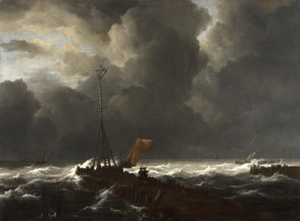 Jacob van Ruisdael, Rough Seas at a Jetty, 1650s. Collection of the Kimbell Art Museum, Fort Worth.