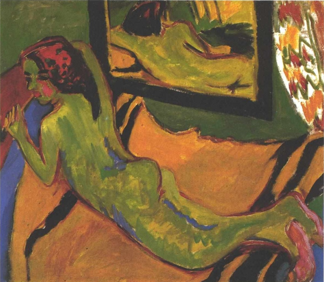 Ernst Ludwig Kirchner, Reclining Nude in Front of Mirror, 1909-10. Collection of Brucke Museum.