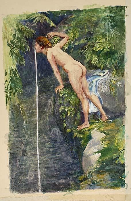 John La Farge, After the Bath, South Seas, Tahiti, ca. 1895-1908.