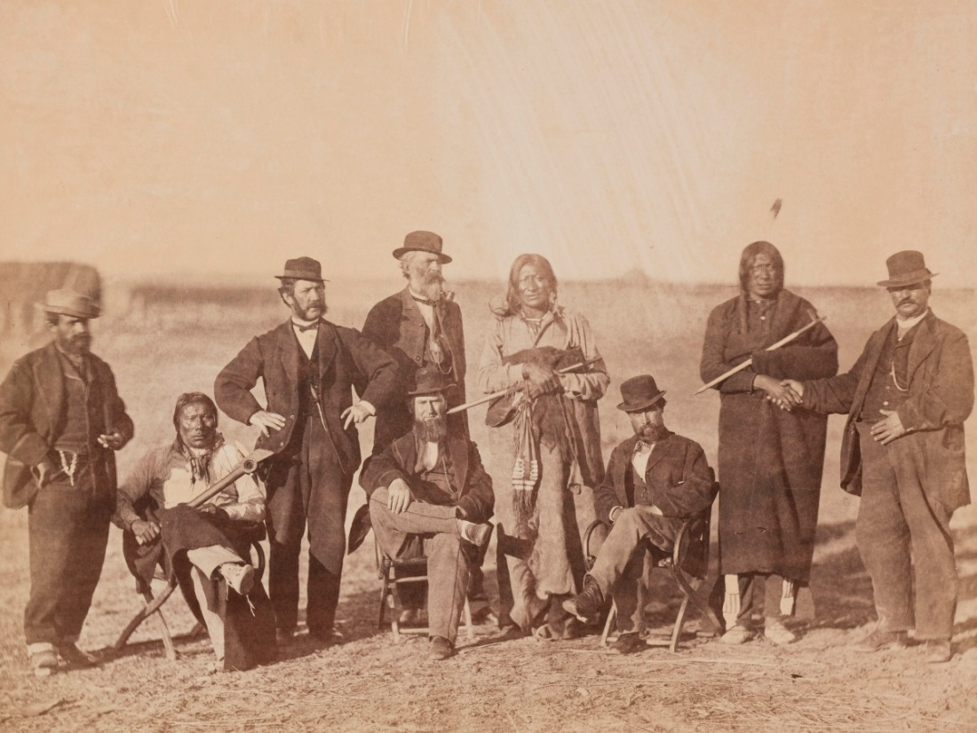 Alexander Gardner, Group with Packs His Drum, Man Afraid of His Horses, and Red Bear, 1868.