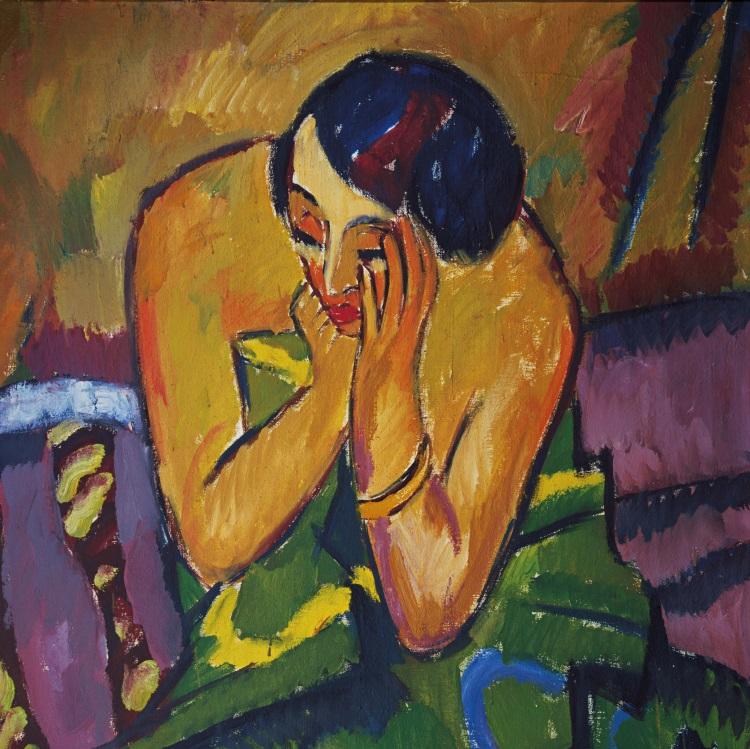 Karl Schmidt-Rottluff, Reflective Woman (detail), 1912.
