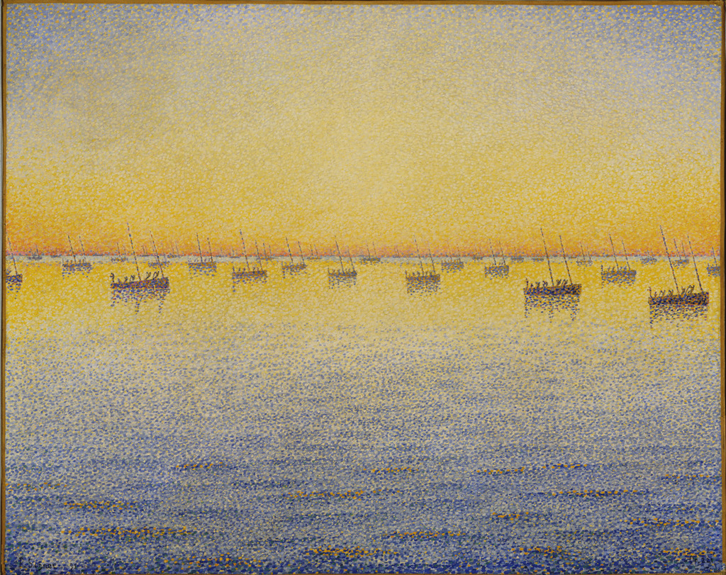 Paul Signac, Setting Sun. Sardine Fishing. Adagio. Opus 221 from the series The Sea, The Boats, Concarneau, 1891.