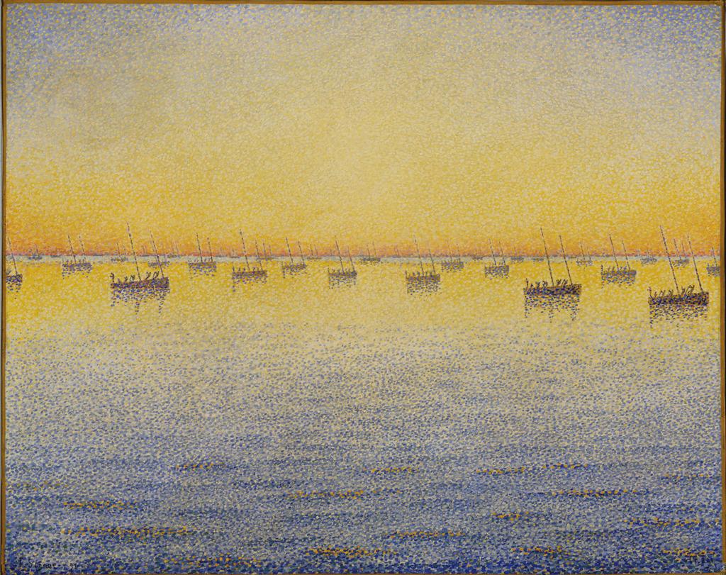 Paul Signac, Setting Sun. Sardine Fishing. Adagio. Opus 221 from the series The Sea, The Boats, Concarneau, 1891.