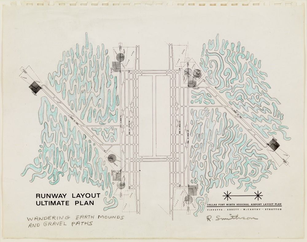 Robert Smithson, Dallas-Fort Worth Regional Airport Layout Plan: Wandering Earth Mounds and Gravel Paths, 1966.