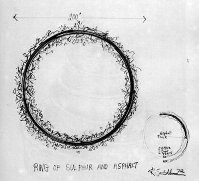 Robert Smithson, Ring of Sulphur and Asphalt, 1972.