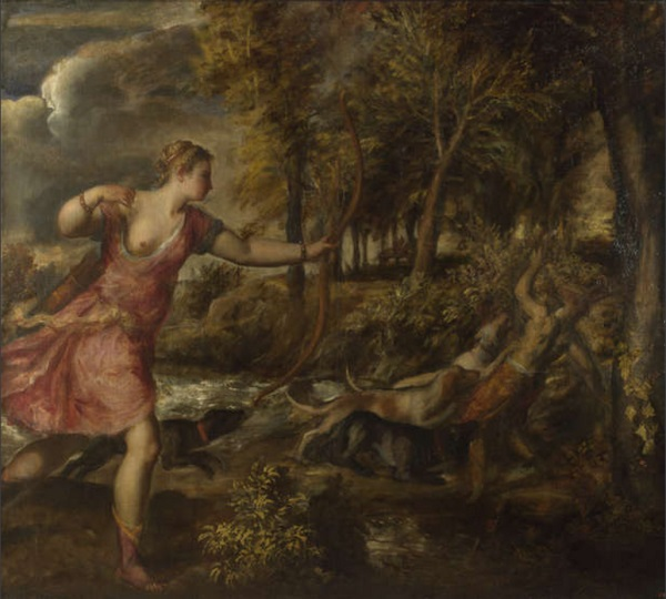 Titian, Death of Acteon, 1559-1575. Collection of The National Gallery, London.