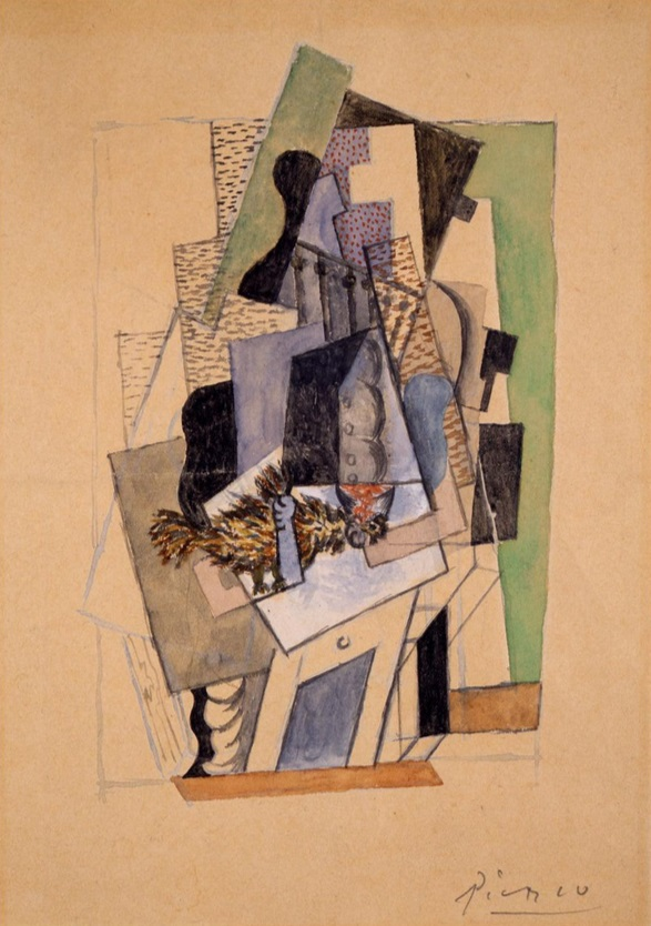 Pablo Picasso,  Person Seated at a Table Plucking a Dead Bird, 1918.