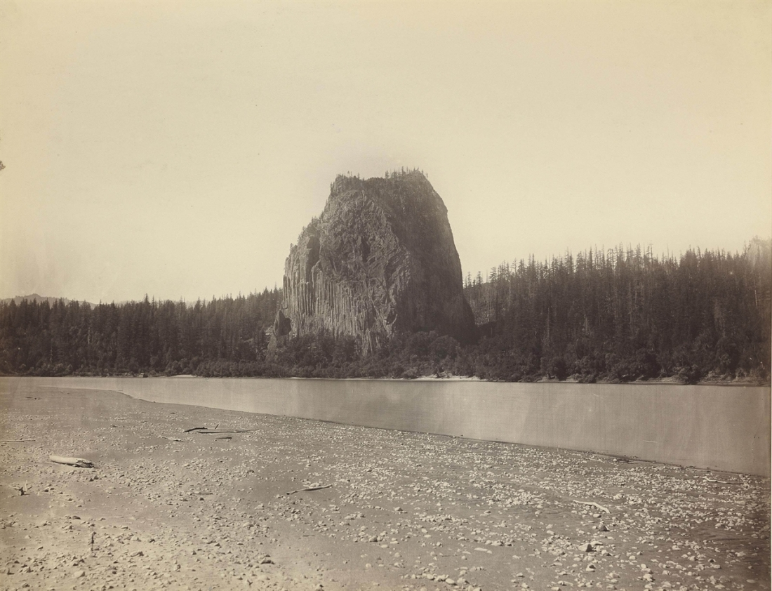 Carleton Watkins, Castle Rock, Columbia River, 1867.