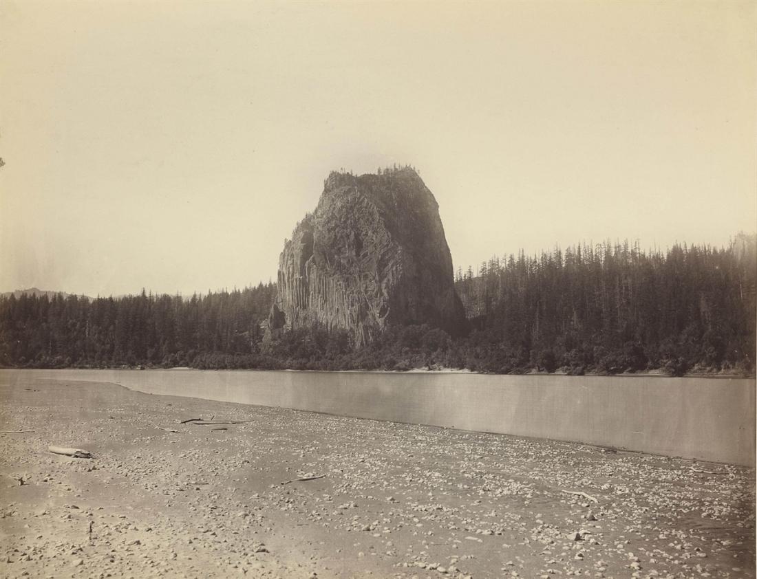 Carleton Watkins, Castle Rock, Columbia River, 1867.