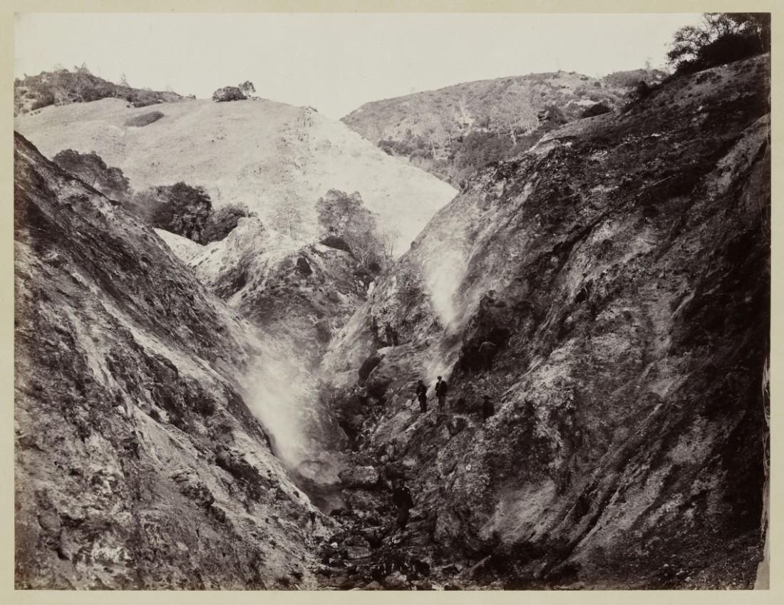 Carleton Watkins, Devils' Canon, Geysers, Looking Up, 1867.