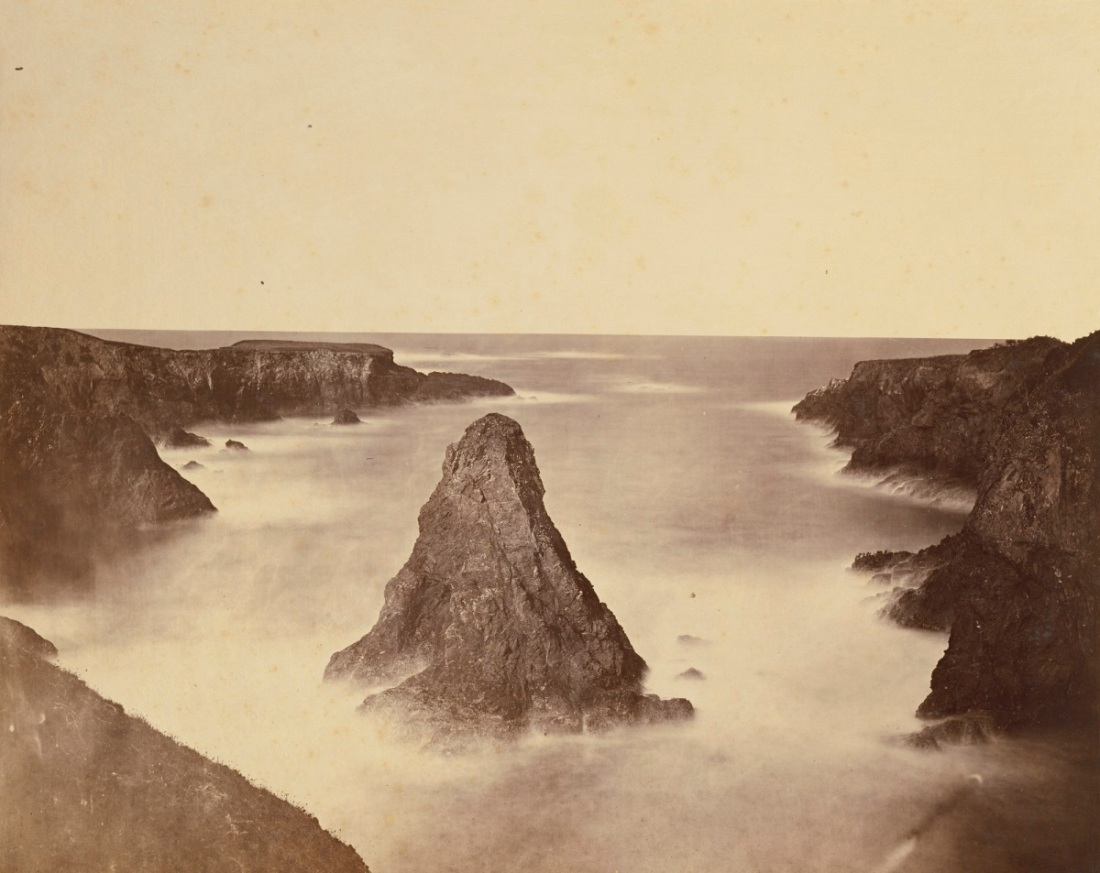 Carleton Watkins, A Coast View, Rocks (No. 1), Mendocino County, 1863.
