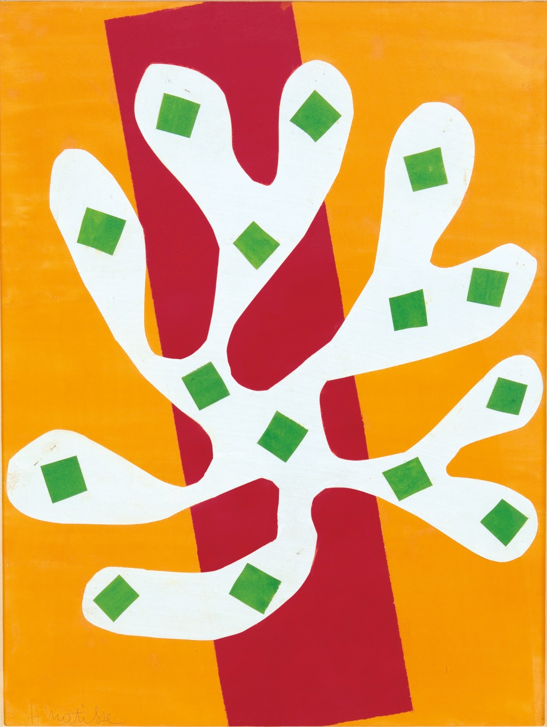 Henri Matisse, White Alga on Orange and Red Background (Algue blanche sur fond orange et rouge), 1947.