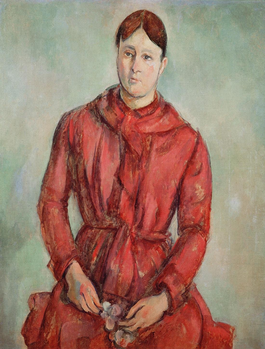 Paul Cezanne, Portrait of madame Cezanne in a Red Dress, ca. 1888-90, Collection of the Museu de Arte de Sao Paulo.