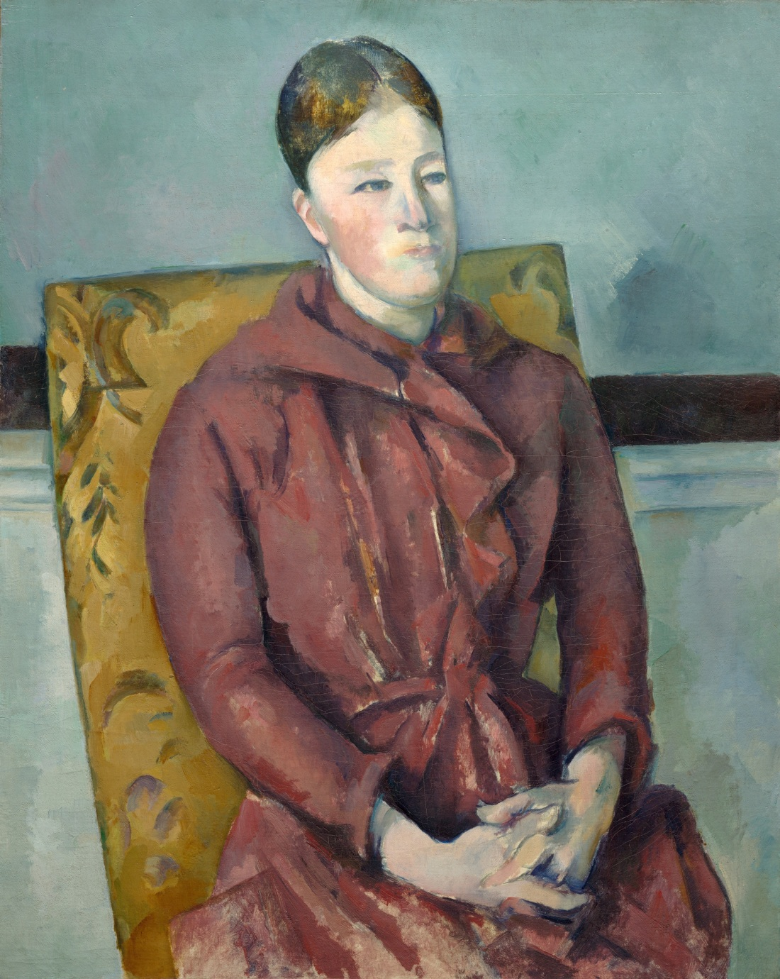 Paul Cezanne, Madame Cezanne in a Yellow Chair, ca. 1888-90. Collection of the Art Institute of Chicago.