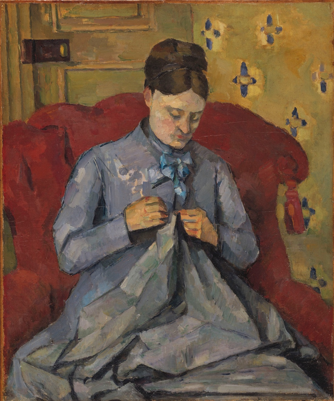 Paul Cezanne, Madame Cezanne Sewing, ca. 1877. Collection of the Nationalmuseum, Stockholm.