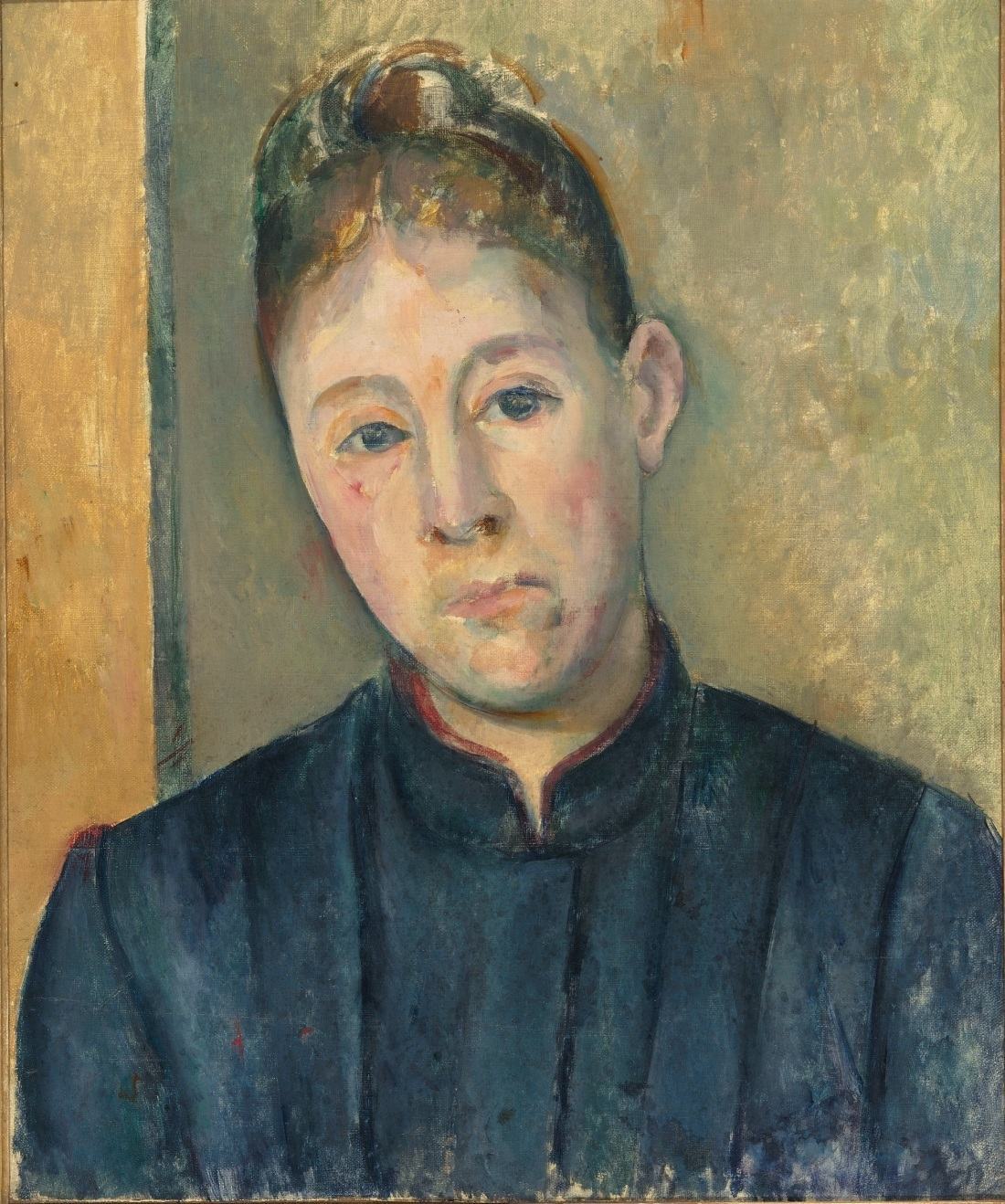 Paul Cezanne, Portrait of Madame Cezanne, ca. 1885-87. Musée d'Orsay, Paris, Gift of Philippe Meyer, 2000, on deposit at Musée Granet, Aix-en-Provence, currently on view at Musée d'Orsay.