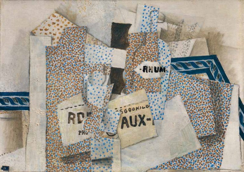 Georges Braque, Bottle of Rum, 1914.