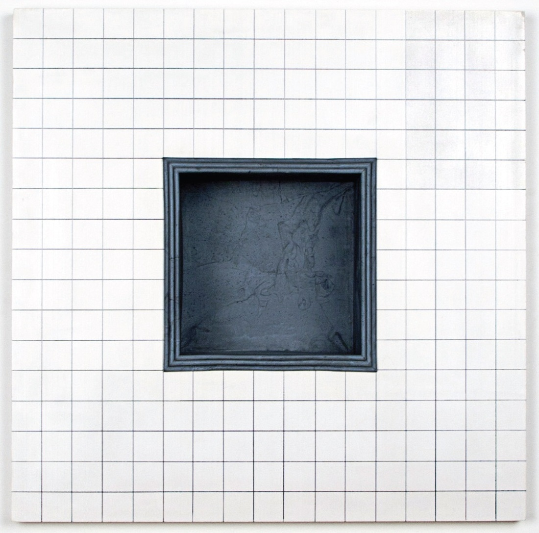 Jackie Winsor, Inset Wall Piece, White Face, One-Inch Grid with Gray Stepped Inset, 1995.
