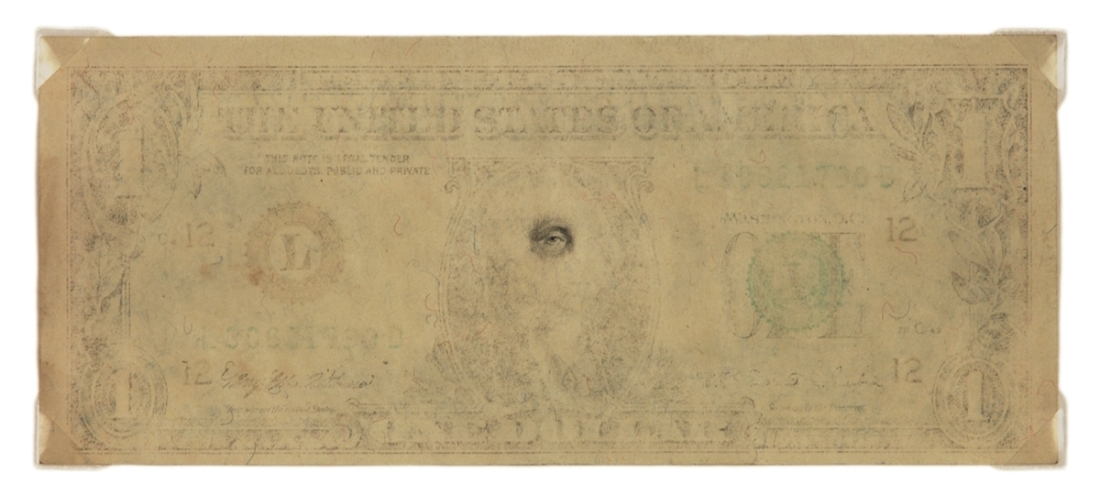 Mel Chin, Erased Currency Series, Eye of the Beholder, 1996.