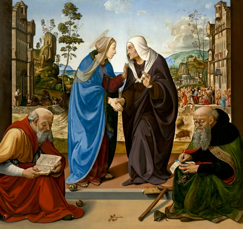 Piero di Cosimo, The Visitation with St. Nicholas and St. Anthony Abbot, c. 1489-90. Collection of the National Gallery of Art, Washington.
