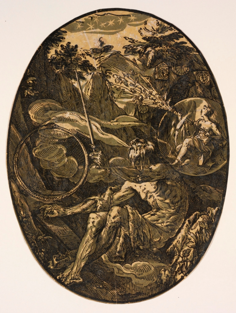 Hendrick Goltzius, The Cave of Eternity or The Magician, n.d. Collection of the Rhode Island School of Design Museum of Art.