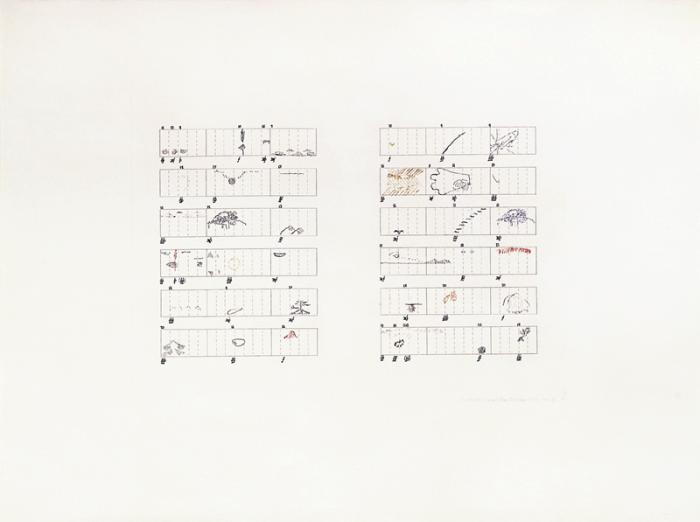 John Cage, Score Without Parts (40 Drawings by Thoreau): Twelve Haiku, 1968. (Published by Crown Point Press, San Francisco.)