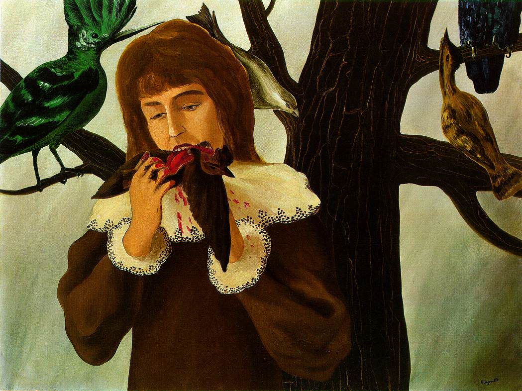 Rene Magritte, Young Girl Eating a Bird (The Pleasure), 1927.