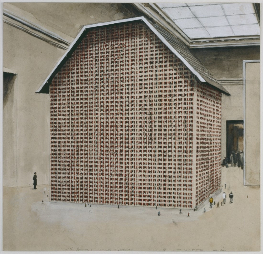 Michaël Borremans, In the Louvre -- The House of Opportunity, 2003.