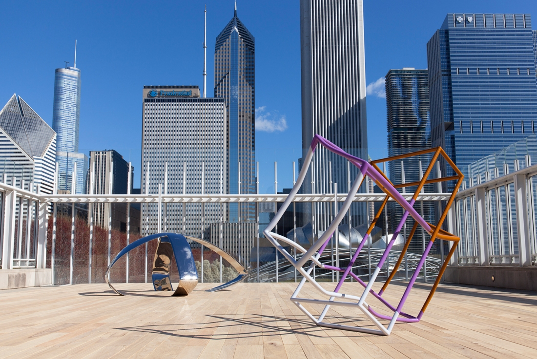 Installation view of Liz Larner, April 24, 2015–September 27, 2015 on the Bluhm Family Terrace. The Art Institute of Chicago.