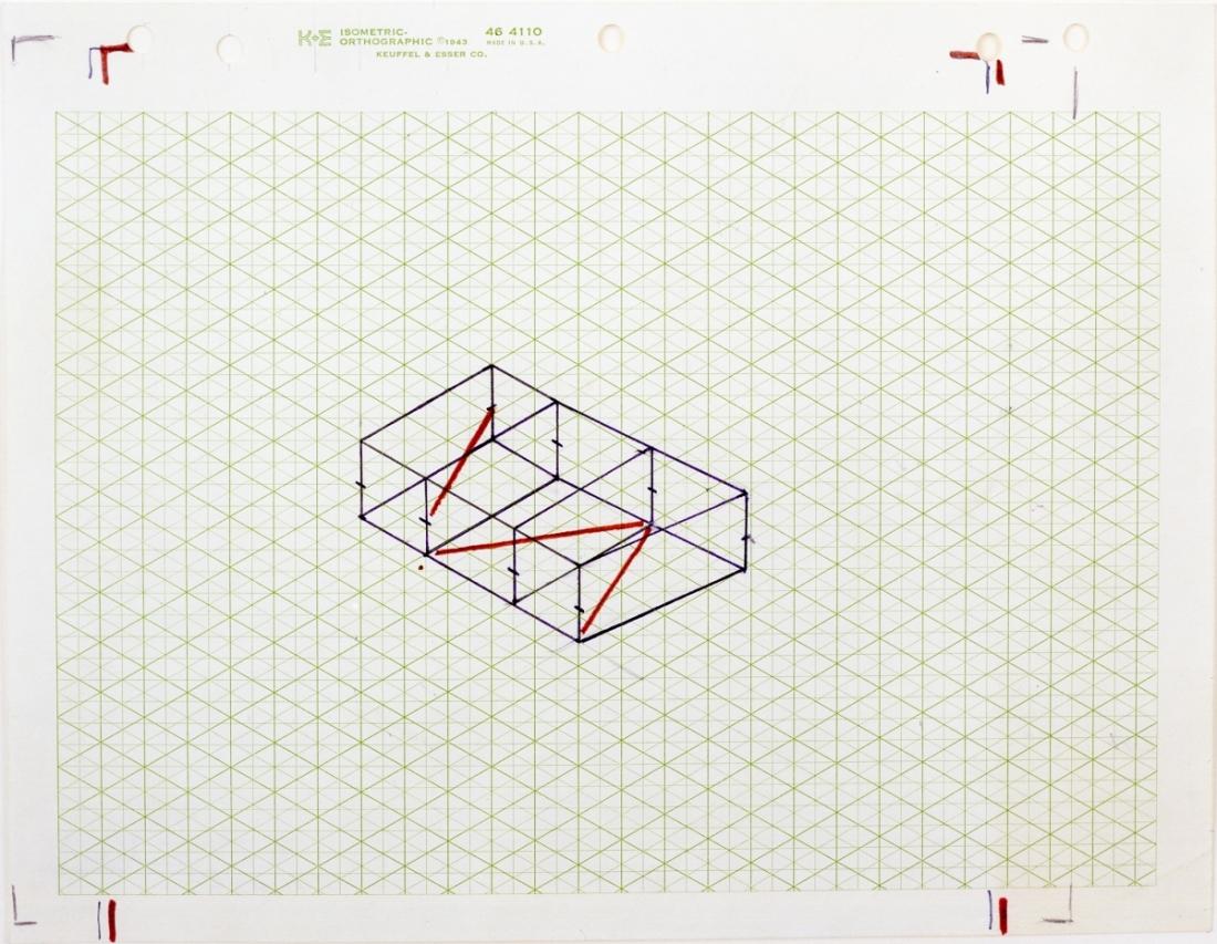 Fred Sandback, Untitled (Study for Kunstraum Munich), ca. 1975.