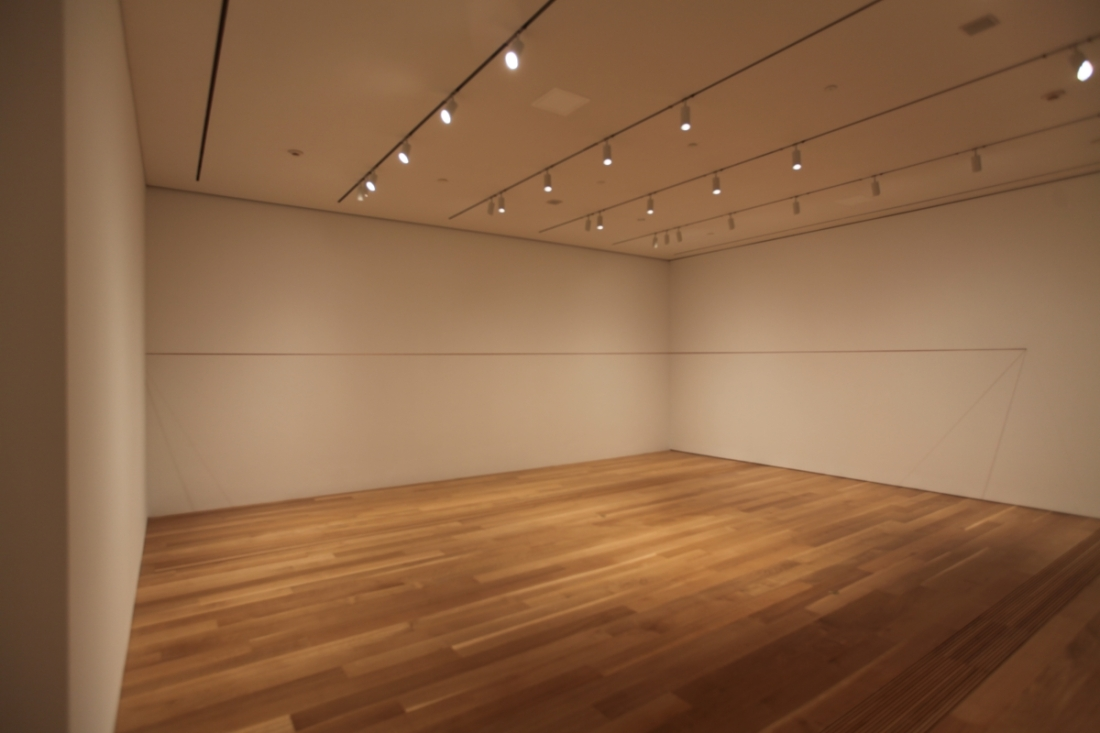 Installation view of Fred Sandback, 64 Three-part Pieces [Permutation No. 14], Pulitzer Arts Foundation, 2015.