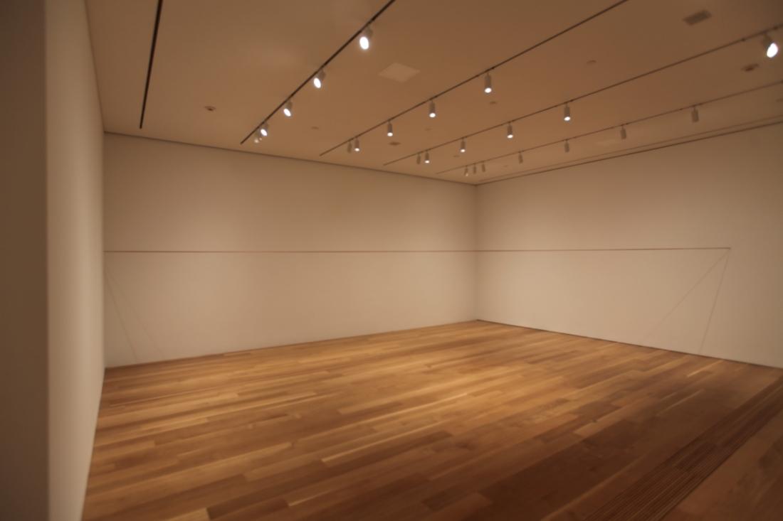 Installation view of Fred Sandback, 64 Three-part Pieces [Permutation No. 14], Pulitzer Arts Foundation, 2015.