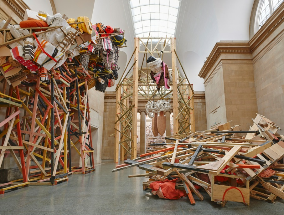 "Installation view of Phyllida Barlow, ""dock,"" at the Tate Britain."