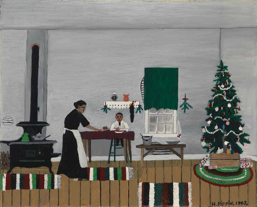Horace Pippin, Christmas Morning, Breakfast, 1945.
