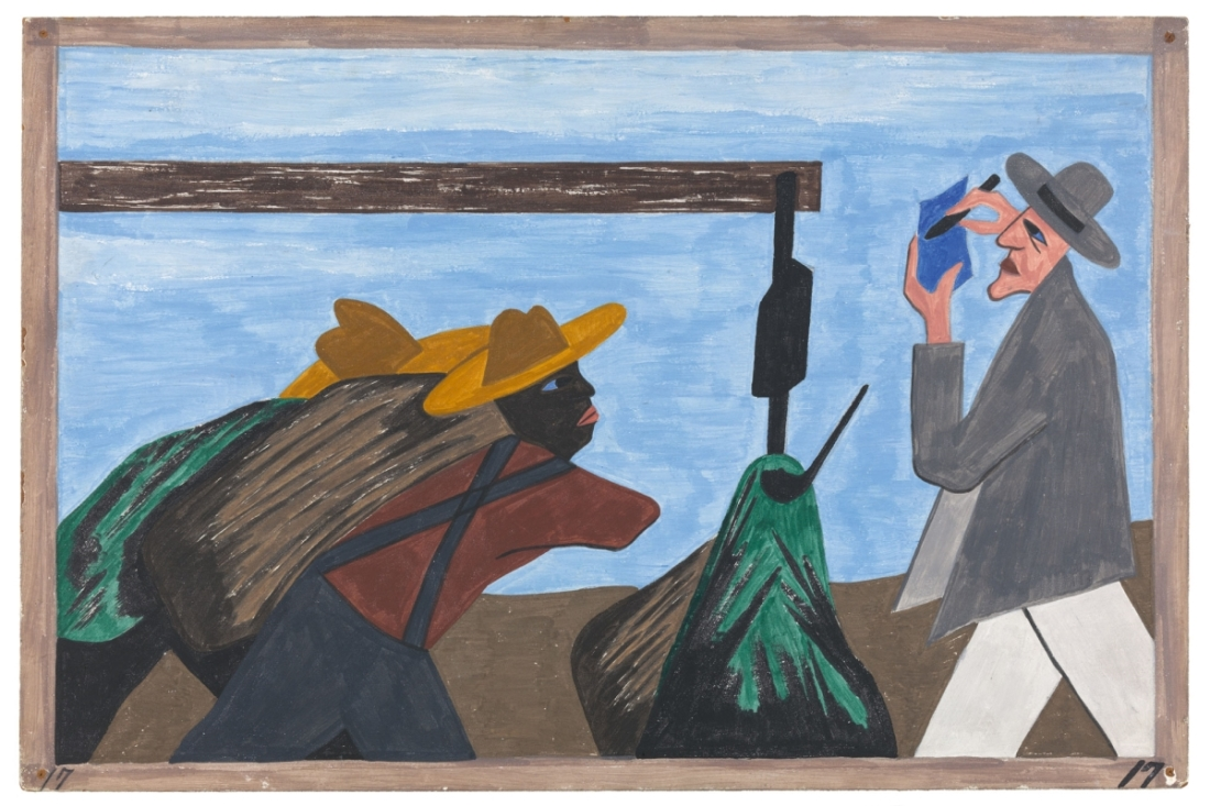 "Jacob Lawrence, Panel 20 from ""The Migration Series,"" 1941. 1941 caption: The migration was spurred on by the treatment of the tenant farmers by the planter. 1993 caption: Tenant farmers received harsh treatment at the hands of planters."